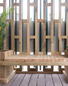 ספסל משולב עם אדניות